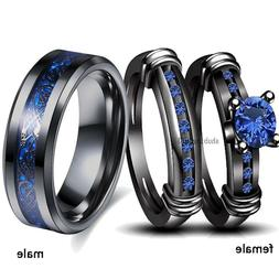 sz6-13 Couple Rings Stainless Steel Mens Band Sapphire Women