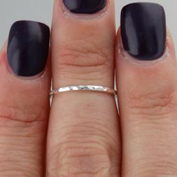 Thin Hammered Midi Ring - 925 Sterling Silver - Knuckle Ring