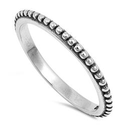 Thin Stackable Sterling Silver Beaded Bali Design Ring