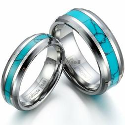 Tungsten Carbide Ring Manmade Turquoise Men's Women's Engage