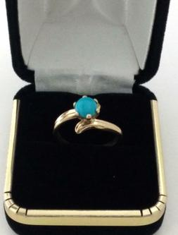 Turquoise Ring in Real Solid 14k Yellow Gold Nice Jewelry Gi