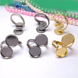 Unisex Brass Adjustable Rings Double Base Tray Setting For J