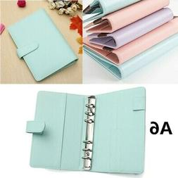US A6 Loose Leaf Notebook Leaf Ring Leather Cover Weekly Bin