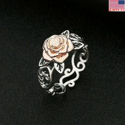 USA Solid Sterling Silver 925 Rose Flower Ring Ladies Women