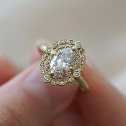 Vintage 18k Yellow Gold Plated Rings for Women Oval Cut Whit