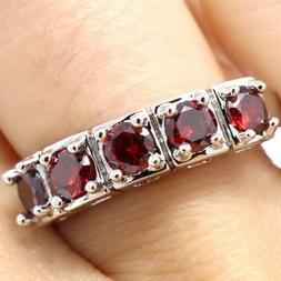 Vintage Antique Round Ruby Band Ring Women Wedding Jewelry 1