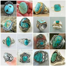 Wholesale Handmade 925 Silver Turquoise Ring Women Men Vinta