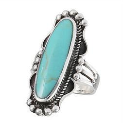 Wide Turquoise Bali Design Statement Ring .925 Sterling Silv