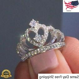 Women Crown Jewelry 925 Silver Rings White Sapphire Wedding
