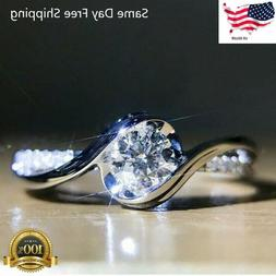 Women Fashion 925 Silver Rings White Sapphire Wedding Ring G