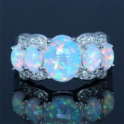 Women Handmade Ring Natural Oval Opal Silver Plated Ring Jew