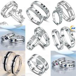 Women Men 925 Sterling Silver Crystal Open Sizable Love Coup