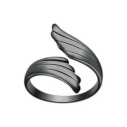 Women's 14K Black Gold Plated Foot Rings Angel Wings Open To