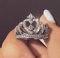 Women's Fashion Jewelry Silver Crystal Crown Heart Zircon Ri