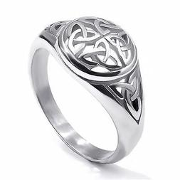 Women's Girl's Stainless Steel Ring Silver Celtic Knot Fashi