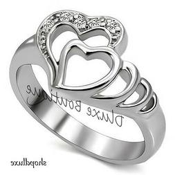 Women's Girls Stainless Steel Forever Double Heart AAA CZ Pr