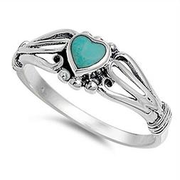 Women's Heart Turquoise Promise Ring New .925 Sterling Silve