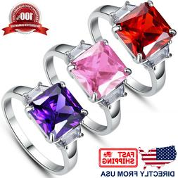Women's Princess Cut Cubic Zirconia Stainless Steel Cocktail