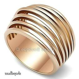 WOMEN'S ROSE GOLD PLATED STAINLESS STEEL WIDE BAND DOME FASH