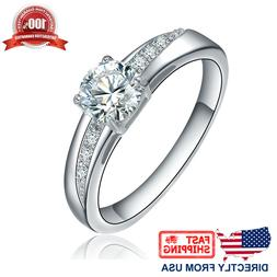 Women's Stainless Steel Cubic Zirconia CZ Solitaire Engageme
