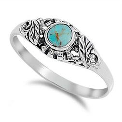 Women's Turquoise Cute Fashion Leaf Ring New 925 Sterling Si