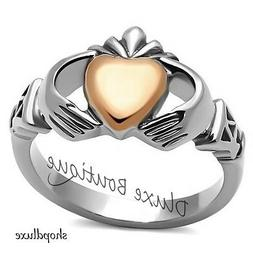 Women's Two-Tone Stainless Steel Irish Claddagh Fashion Prom