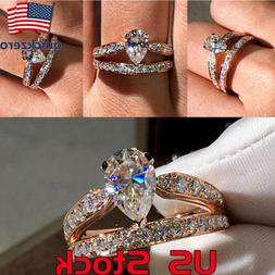 Women's Water Drop Pear-shaped Double Ring Gift Engagement W