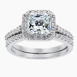 Women's 1.8 CTW Princess Cut 925 Sterling Silver CZ Weddin