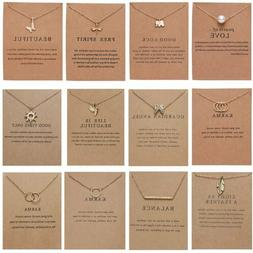 Womens Animal Owl Elephant Clavicle Paper Card Necklace Pend