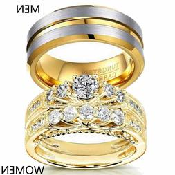 Yellow Gold Filled Couple Rings Tungsten Mens Band CZ Womens